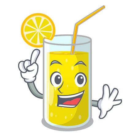Finger fresh lemon juice in glas cartoon vector illustration Stock Illustratie