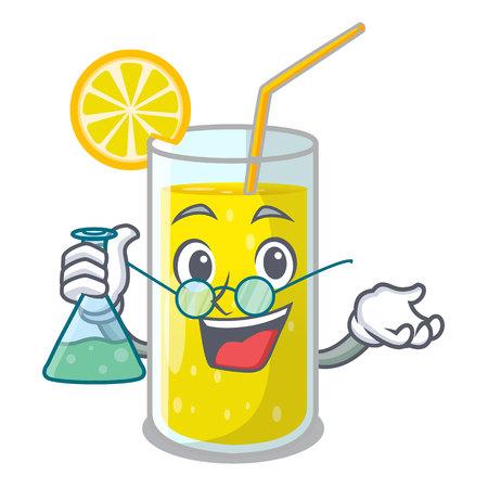 Professor glass fresh lemon juice on mascot vector illustration
