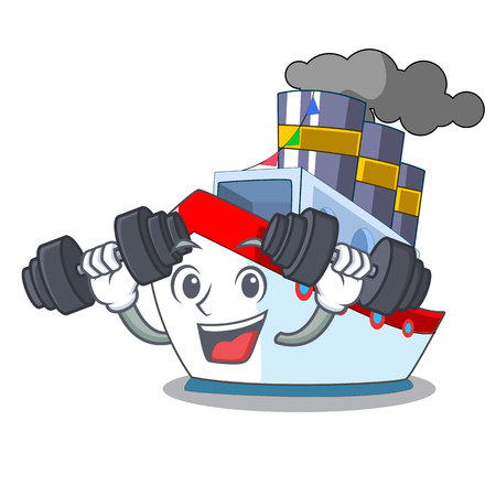 Fitness ship in the transportation ocean mascot vector illustration Vettoriali