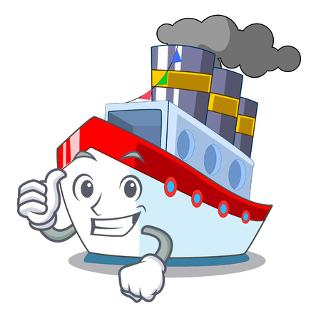 Thumbs up aerial in cartoon cargo ship view vector illustration