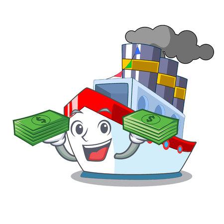 Avec le navire de caractère de luxe d'argent naviguant vers l'illustration vectorielle de port Vecteurs