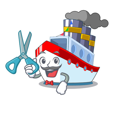 Barber ship in the transportation ocean mascot vector illustration
