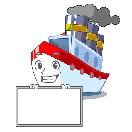 Grinning with board ship in the transportation ocean mascot vector illustration