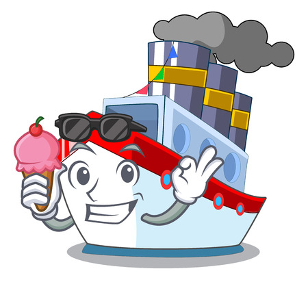 With ice cream aerial in cartoon cargo ship view vector illustration Ilustração