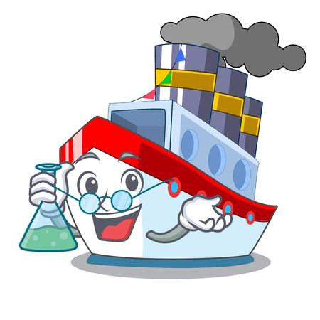 Professor aerial in cartoon cargo ship view vector illustration Vettoriali