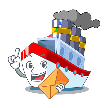 With envelope aerial in cartoon cargo ship view vector illustration 일러스트