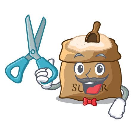 Barber sugar with scoop cartoon in sack vector illustration