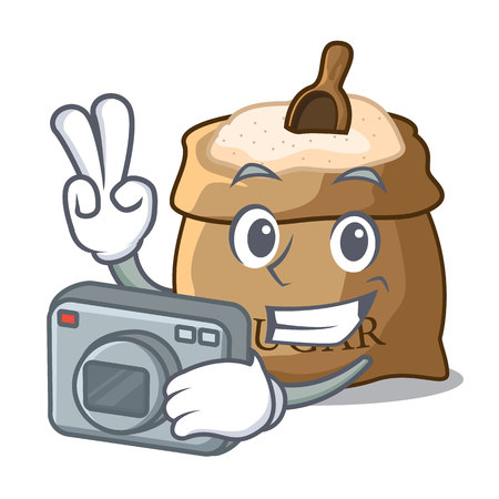 Photographer sugar that burlap sack on mascot vector illustration