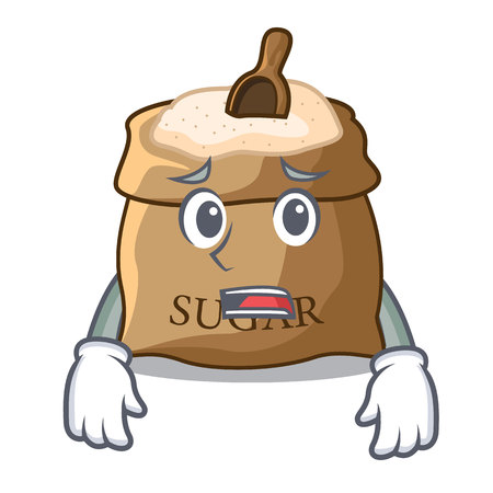 Afraid sugar that burlap sack on mascot vector illustration