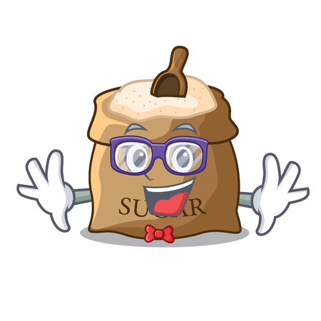 Geek bowl and scoop sugar on character vector illustration