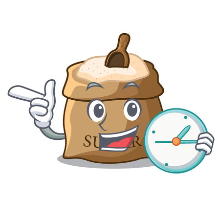 With clock bowl and scoop sugar on character vector illustration Illustration