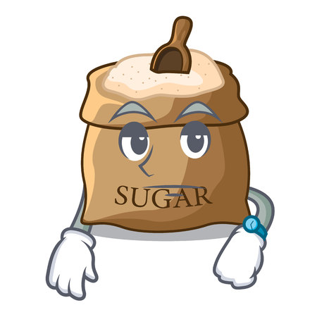 Waiting sugar in bowl isolated on cartoon vector illustration