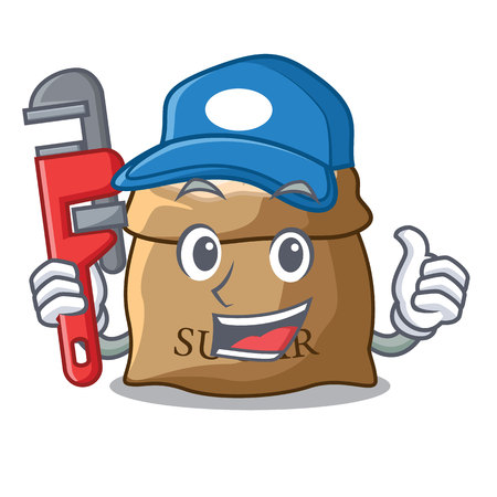 Plumber sugar in bowl isolated on cartoon vector illustration Ilustração
