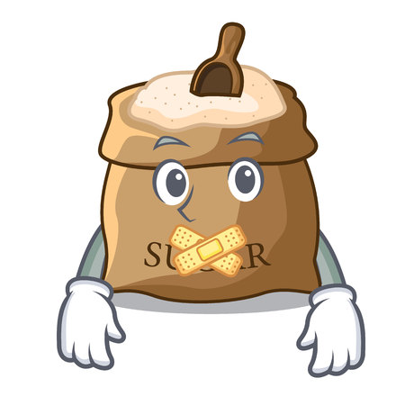 Silent sugar in sack isolated on cartoon vector illustration