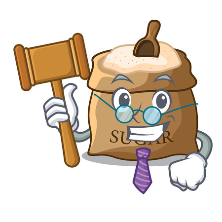 Judge sugar in bowl isolated on cartoon vector illustration