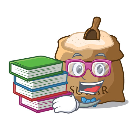 Student with book sugar in bowl isolated on cartoon vector illustration