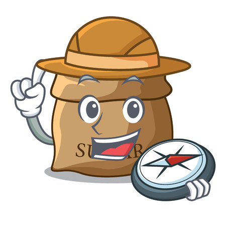 Explorer sugar that burlap sack on mascot vector illustration