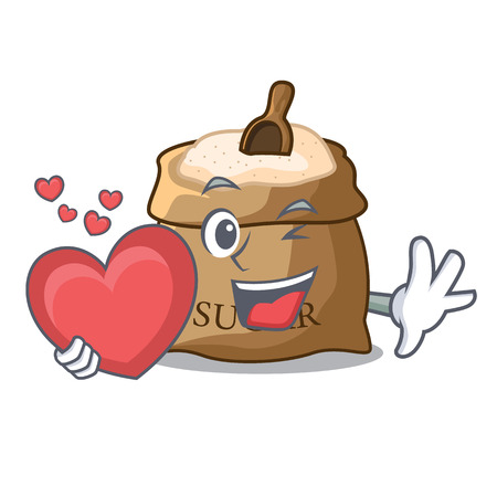 With heart sugar that burlap sack on mascot vector illustration