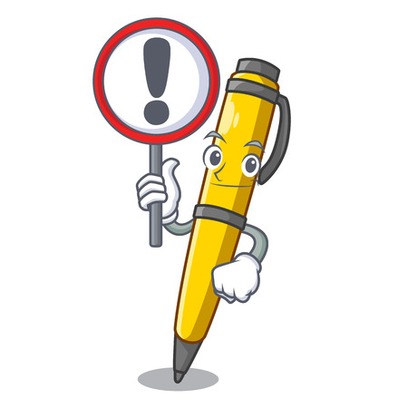 With sign Pen shape that on a cartoon vector illustration Illustration