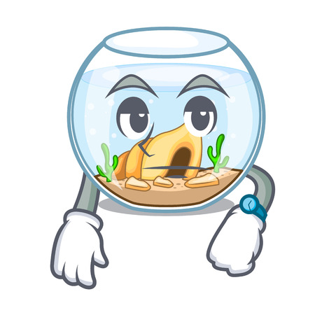 Waiting fishbowl in a funny on cartoon vector illustration