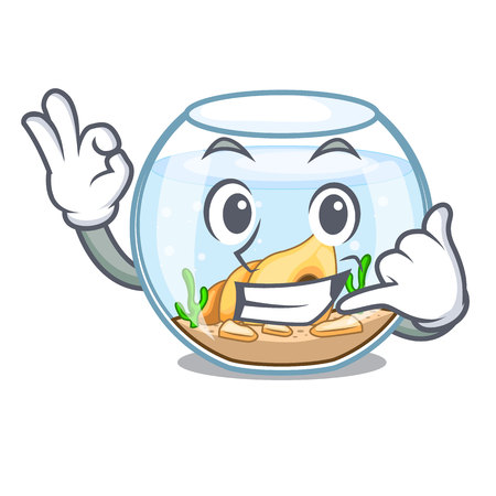 Call me fishbowl in a funny on cartoon vector illustration
