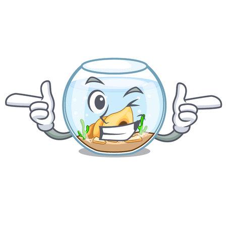 Clin d'oeil fishbowl dans la sphère de verre sur l'illustration vectorielle de mascotte Vecteurs