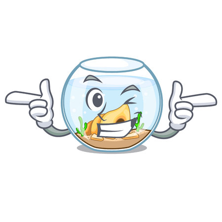 Wink fishbowl in glass sphere on mascot vector illustration