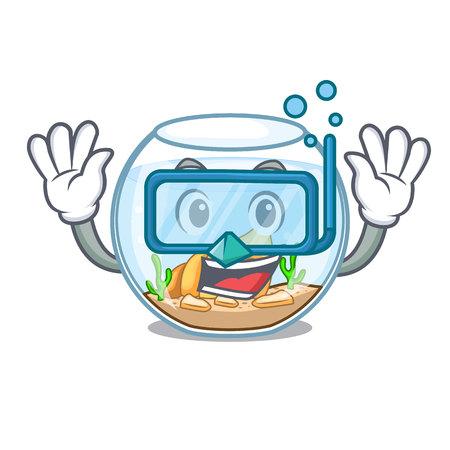Diving fishbowl in glass sphere on mascot vector illustration