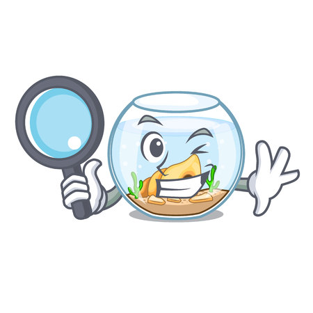 Detective fishbowl in glass sphere on mascot vector illustration