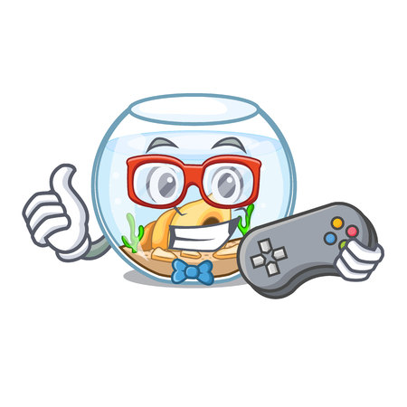 Gamer fishbowl jumping outside the on character vector illustration Çizim