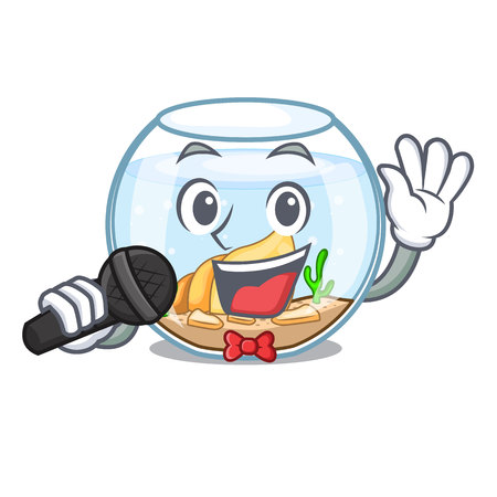 Singing fishbowl jumping outside the on character vector illustration Stock Illustratie