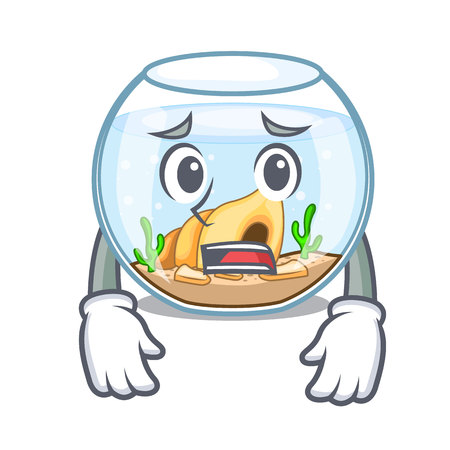Afraid fishbowl jumping outside the on character vector illustration