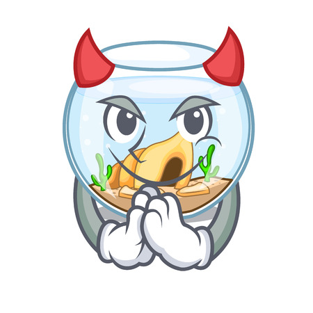 Devil fishbowl jumping outside the on character vector illustration Illustration