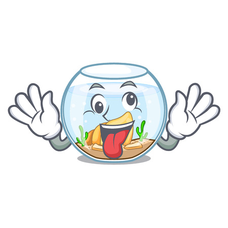 Crazy fishbowl in a funny on cartoon vector illustration
