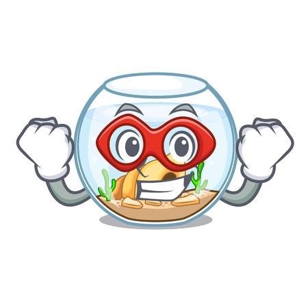 Super hero fishbowl in glass sphere on mascot vector illustration