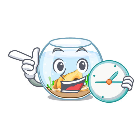 With clock fishbowl in glass sphere on mascot vector illustration