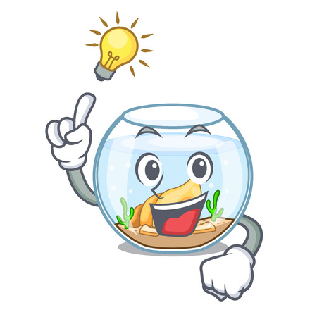 Have an idea fishbowl in a funny on cartoon vector illustration