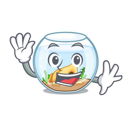 Waving fishbowl in glass sphere on mascot vector illustration Illustration