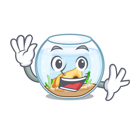 Waving fishbowl in glass sphere on mascot vector illustration 向量圖像