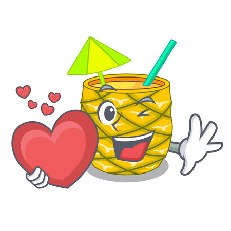 With heart Pineapple fruit juice on character drink vector illustration