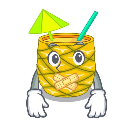 Silent bottles pineapple juice on cartoon table vector illustration Illustration