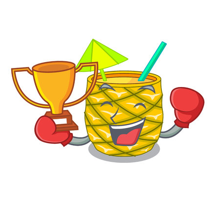 Boxing winner bottles pineapple juice on cartoon table vector illustration