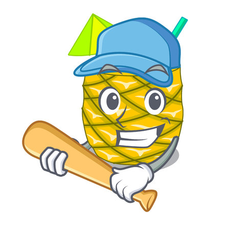 Playing baseball pineapple juice garnished with on cartoon vector illustration