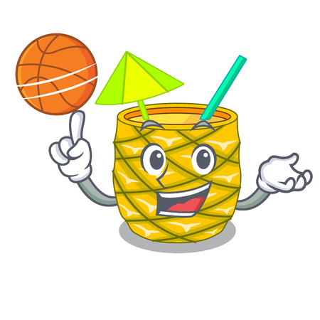 With basketball pineapple juice garnished with on cartoon vector illustration