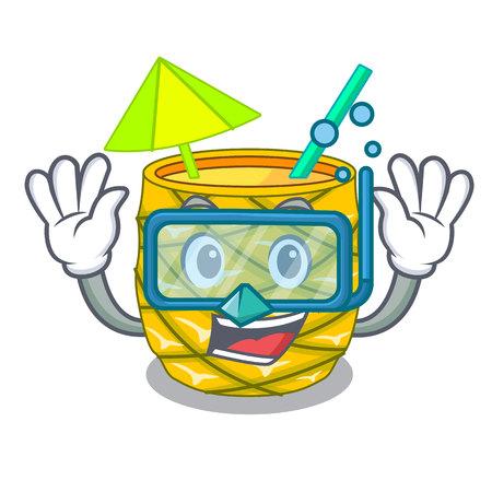Diving Pineapple juice in glassware on mascot vector illustration Çizim