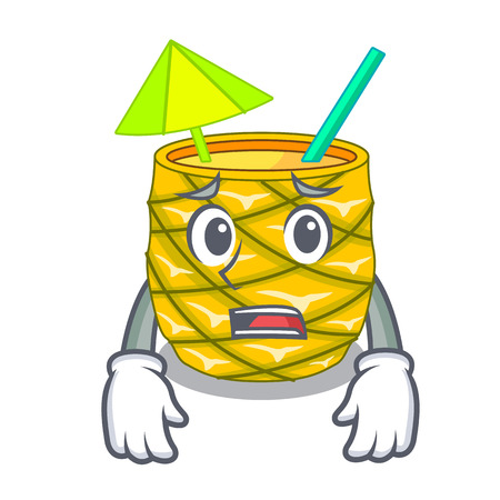 Afraid Pineapple fruit juice on character drink vector illustration