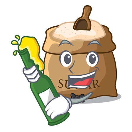 With beer sugar in bowl isolated on cartoon vector illustration
