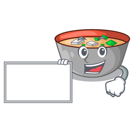 With board japanese miso soup in cartoon bowl vector illustration