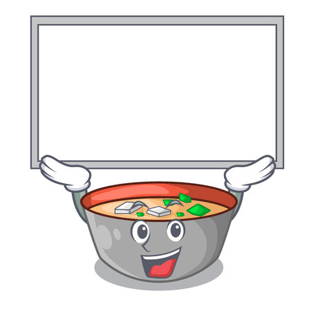 Up board japanese miso soup in cartoon bowl vector illustration