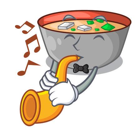 With trumpet miso soup bowl on table character vector illustration Ilustração